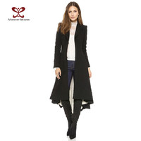 2016 Autumn Women Coat European style Long Sleeve Casual Trench Coat Long Maxi Dovetail Fashion Slim Black Trench Coats NC-745