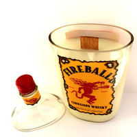 SALE--Fireball scented candle in upcylced fireball bottle with scented Wood Wick