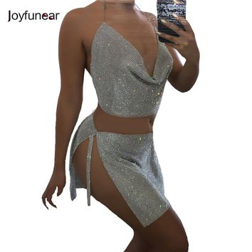 Joyfunear Party Robe Summer Dress Women Summer Sexy Backless tigh Dress Sleeveless Diamond metal straps Slim Bodycon Vestdios