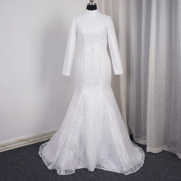 Long Sleeve High Neck Wedding Dress Match Mermaid Lace Simple Bridal Gown