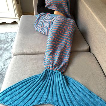 Home Decor Stripy Crochet Knit Mermaid Blanket Throw
