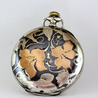 Vintage Longines Rose Gold Silver Niello Pocket Watch Floral Pattern Art Nouveau