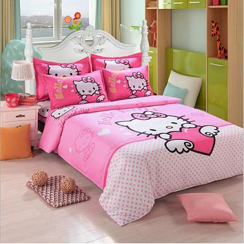Home Textile Cute Pink Hello Kitty Bedding Duvet Cover Set