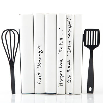 Bookends Spatula and whisk these bookends will hold your favorite cookbooks laser cut for precision s