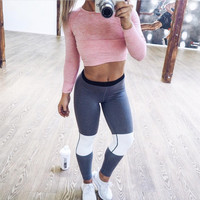 Patchwork Fitness Workout Leggings [9328128196]