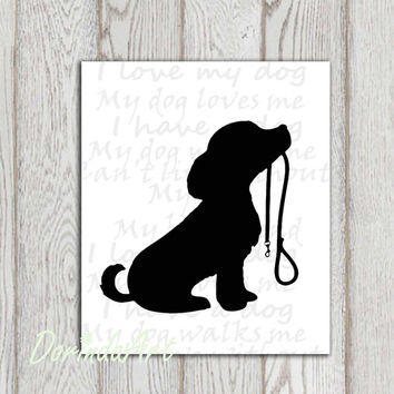 Dog printable Puppy print Dog walking Dog lovers Black white silhouette Custom colors Cute Pet Digital poster Home decor Gift idea DOWNLOAD