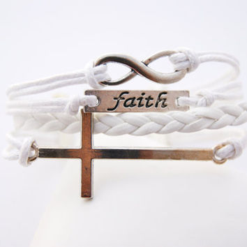 4 Strand White Infinity Faith Cross Faux Leather Braid Cord Bracelet (Adjustable Sizing)