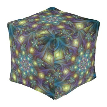 Illuminated modern blue purple Fractal Pattern Pouf