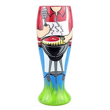 Top Shelf King of the Grill 24 Ounce Painted Pilsner Glass  Funny Gift Ideas for Men  Novelty Gifts for Birthdays Fathers Day Christmas or Any Special Occasion  Humorous Beer Glasses