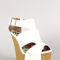 Qupid Ankle Cut Out Peep Toe Wedge