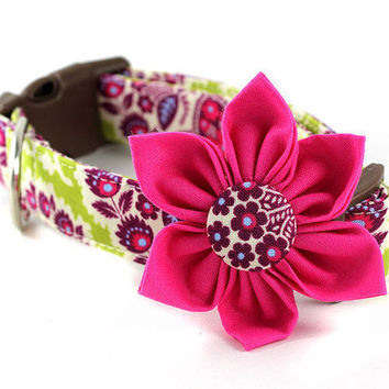 Pink Dog Collar Flower  Heirloom in Lime by BowWowCouture on Etsy