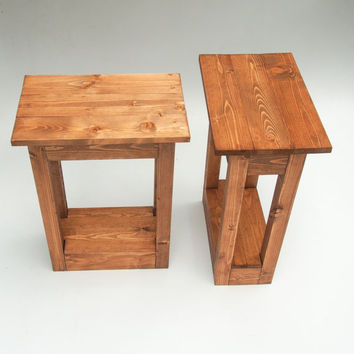 Handmade Brown Wooden Bedside Tables. Reclaimed Pallet Wood. Rustic & Shabby Chic Tables For The Home, Living Room Or Bedroom