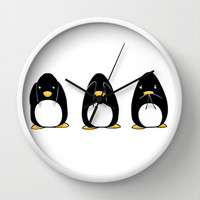 See Hear Speak No Evil Penguins Wall Clock by LGD.