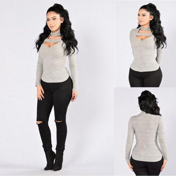 Grey Cut-Out Long Sleeve Body Hug Top