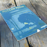 Vintage Sheet Music Underneath the Mellow Moon by Wendell W. Hall 1922 Music and Vocals