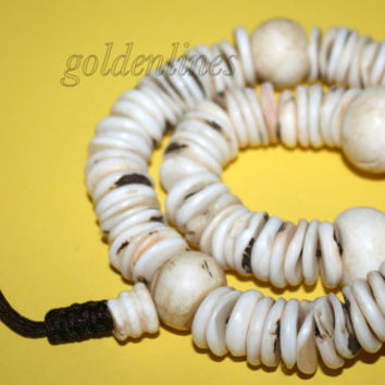 Yak bone prayer beads Tibetan Mala meditation prayer beads Tibet prayer beads yoga beads Om Buddhist prayer beads conch shell prayer beads 3