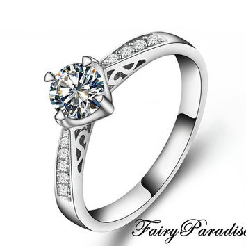 1 ct Edwardian Engagement Ring, 1 Carat Round Cut Man Made Diamond Promise Rings in Pave band, Free Gift box - made to order (FairyParadise)