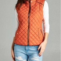 Rust Quilted Vest
