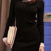 Black Knitted Long Sleeve Sheath Dress