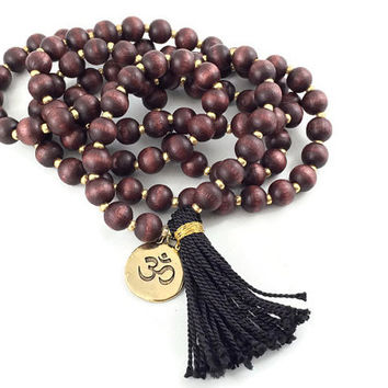 108 Mala Bead/ Mala Necklace/ Mala Bead/ Buddhist Jewelry/ Wood Beads/ Wood Mala/ Yoga Necklace/ Prayer Beads/ Tassel Necklace/ Gift For Her