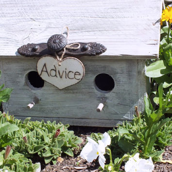 Shabby Chic Wedding Advice Birdhouse, Advice For The Bride And Groom Box, Weathered Whitewashed Wood Rustic Decor, Shabby Chic Decor