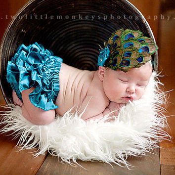 Baby photo prop Ruffled Peacock diaper cover- bloomer matching elastic headband feather fascinator rosette and swarovsky crystals