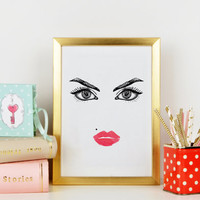 MAKEUP POSTER,Wake Up And Makeup,Makeup Print,Eyebrows,Eyeliner,Lips,Gift For Her,Gift For Girlfriend,Bathroom Print,Makeup Art,Wall Art