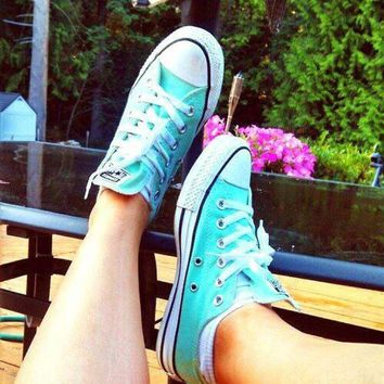 LMFUG7 Converse All Star Sneakers canvas shoes for Unisex sports shoes Low-top Light blue