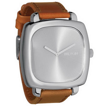 Nixon A286747 Women's Shutter Silver Sunray Dial Brown Leather Strap Watch