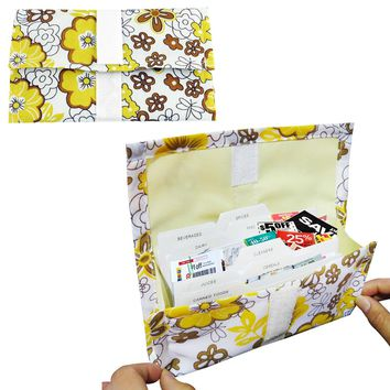 Evelots Expandable Grocery Coupon Organizer Wallet, Yellow Floral