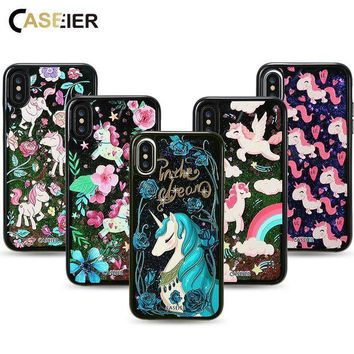 ICIKHY9 Bling Glitter Sand Cases For iPhone X 3D Painting Liquid Cat Case Accessories