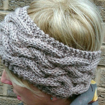 Knitted Headband Ear Warmer light brown beige with metallic thread Cables Yarn, alpaca with wool Winter Ski Idea Ready to ship from UK