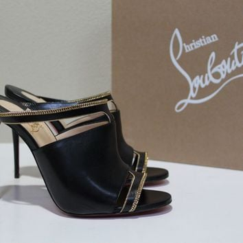 New sz 37 Christian Louboutin Black Leather Akenana Mule Sandals Shoes