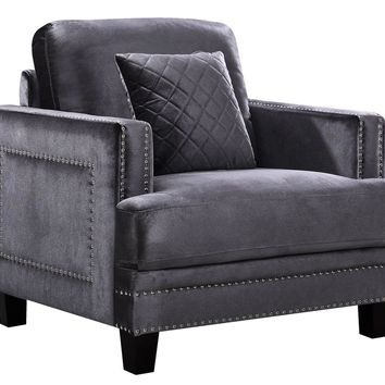 Ferrara Grey Velvet Chair