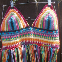 Crochet Halter Top - Hippie Top - Rainbow Top - Fringe Top - Festival Top - Bikini Top - Custom Orders