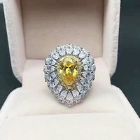 3 Carat Statement Cocktail Ring, Yellow Pear Shaped Edwardian Engagement Ring, Pristine Art Deco Wedding Ring, Silver Vintage Style Ring