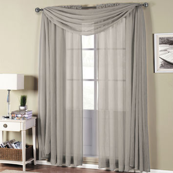 Abri Grey Rod Pocket Crushed Sheer Curtain Panel