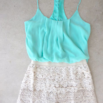 Crochet Macchiato Mint Party Romper [6809] - $39.60 : Feminine, Bohemian, & Vintage Inspired Clothing at Affordable Prices, deloom