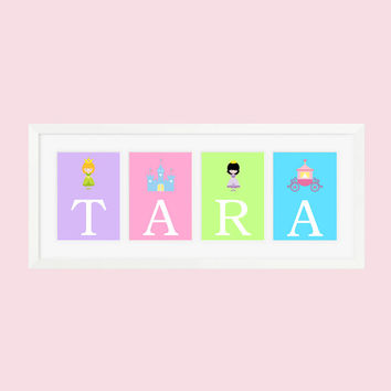 Personalized Nursery Letters, Custom Decor Prints, Princess Theme in Bright Colors, Girl Name Prints, Custom Name Art, Nursery Decor, 8x10