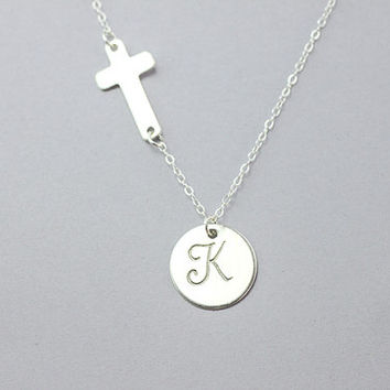 Cross initial necklace. Personalized Monogramming charm Necklace. All Sterling Silver Initial Celebrity Inspired  Necklace. Custom Letter.