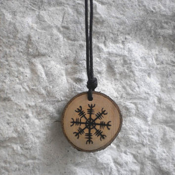 Ægishjálmur wooden pendant - Norse Asatru, heathen Viking jewelry, pyrographed cherry hornbeam wood necklace - Helm of awe, Viking mythology
