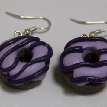 Purple Donut Earrings, Handmade Polymer Clay Donut, kawaii cookie jewelry, miniature dessert jewelry, realistic food jewelry
