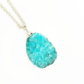 Blue Druzy Necklace, Crystal Jewellery, Druzy Pendant Necklace, Silver Plated Necklace, Druzy Jewellery, Statement Necklace, Geode Necklace