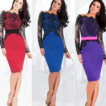 Autumn Winter Dress 2015 Crochet Lace Dress Clubwear vestido de festa Dresses Casual Women Fall Sexy Bodycon Vestidos Plus Size