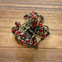 Red Ruby Rhinestone Filigree Butterfly Claw Clip