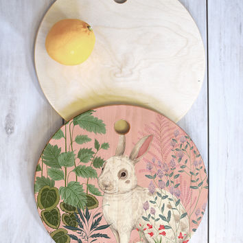 Pimlada Phuapradit Backyard Bunny Cutting Board Round