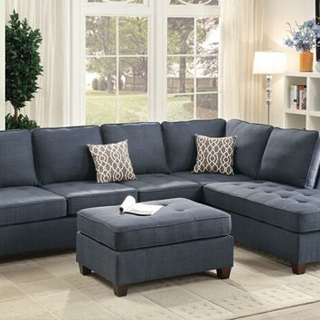 2 pc Jackson II collection dark blue dorris fabric upholstered sectional sofa with reversible chaise lounge