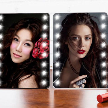 Adjustable Vanity Tabletop Countertop Mirror Make-up Cosmetic Mirror 16 LEDs Lighted Makeup Mirror Portable with Touch Screen