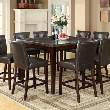 7 pc Milton III collection espresso finish wood counter height marble top dining table set with brown leather like vinyl upholstered chairs