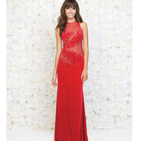 Red Velvet Illusion Cut Out Jeweled Gown